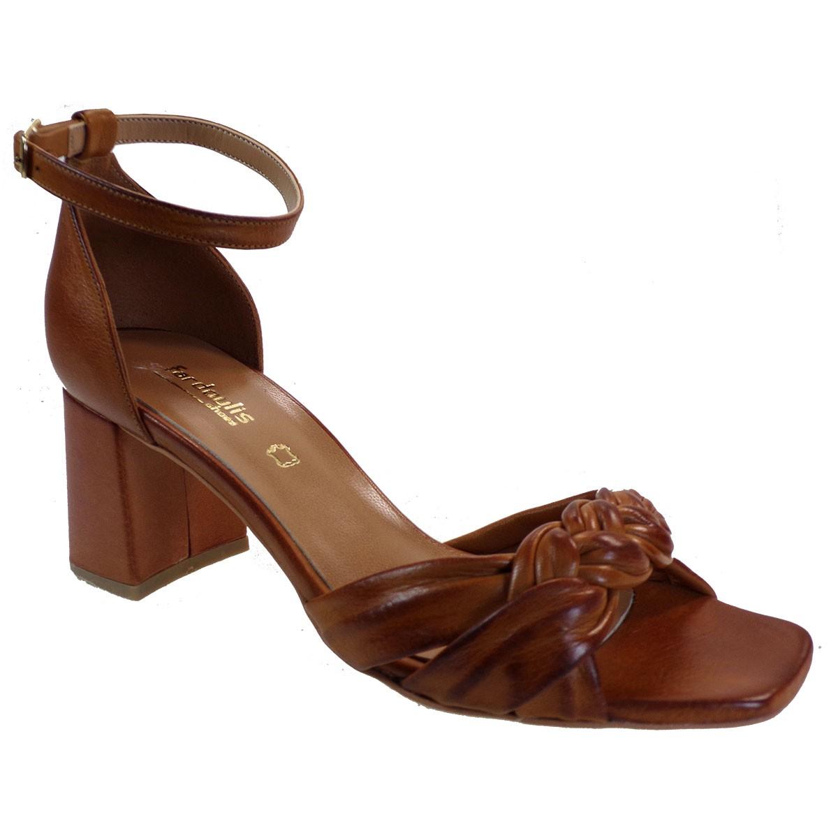 Fardoulis shoes Γυναικεία Παπούτσια Πέδιλα 609-48Χ Ταμπά Δέρμα