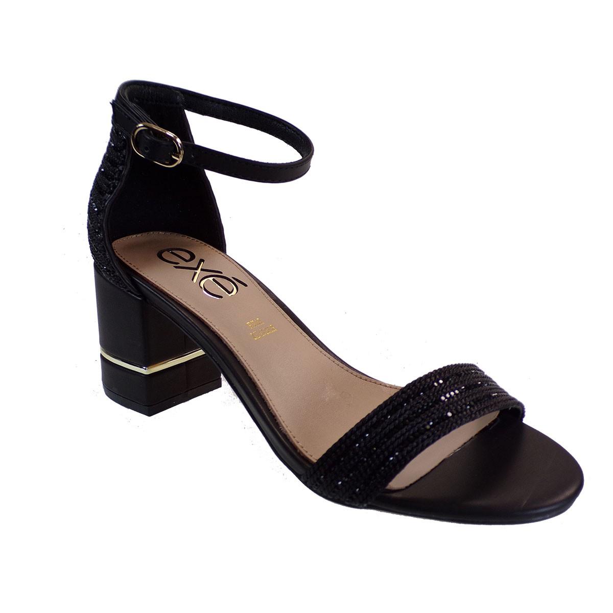 EXE Shoes Πέδιλα Γυναικεία 631-PENNY-361 Μαύρο Στράς Μακραμε M47006314P20