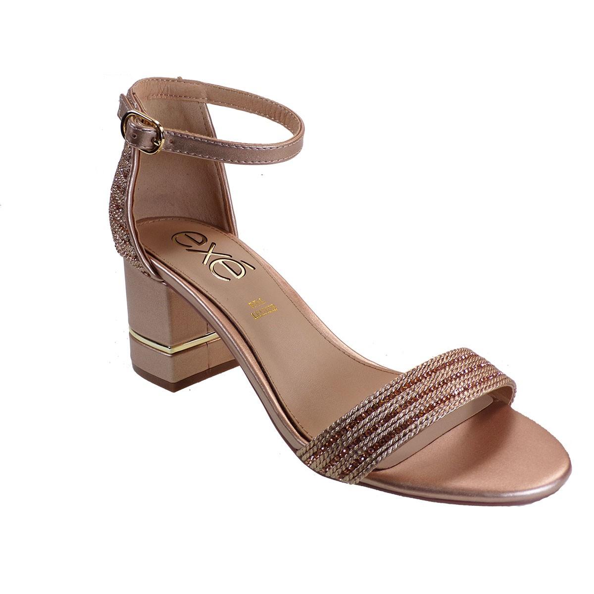 EXE Shoes Πέδιλα Γυναικεία 631-PENNY-361 Ροζ Χρυσό Στράς Μακραμε M47006314P50