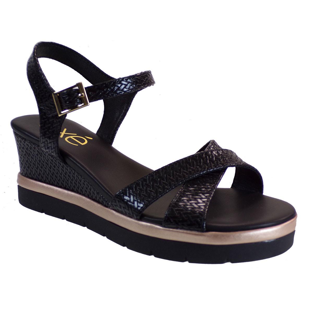 EXE Shoes Γυναικεία Πέδιλα Πλατφόρμες IPANEMA-920 Μαύρο Πλεκτό M47009203574