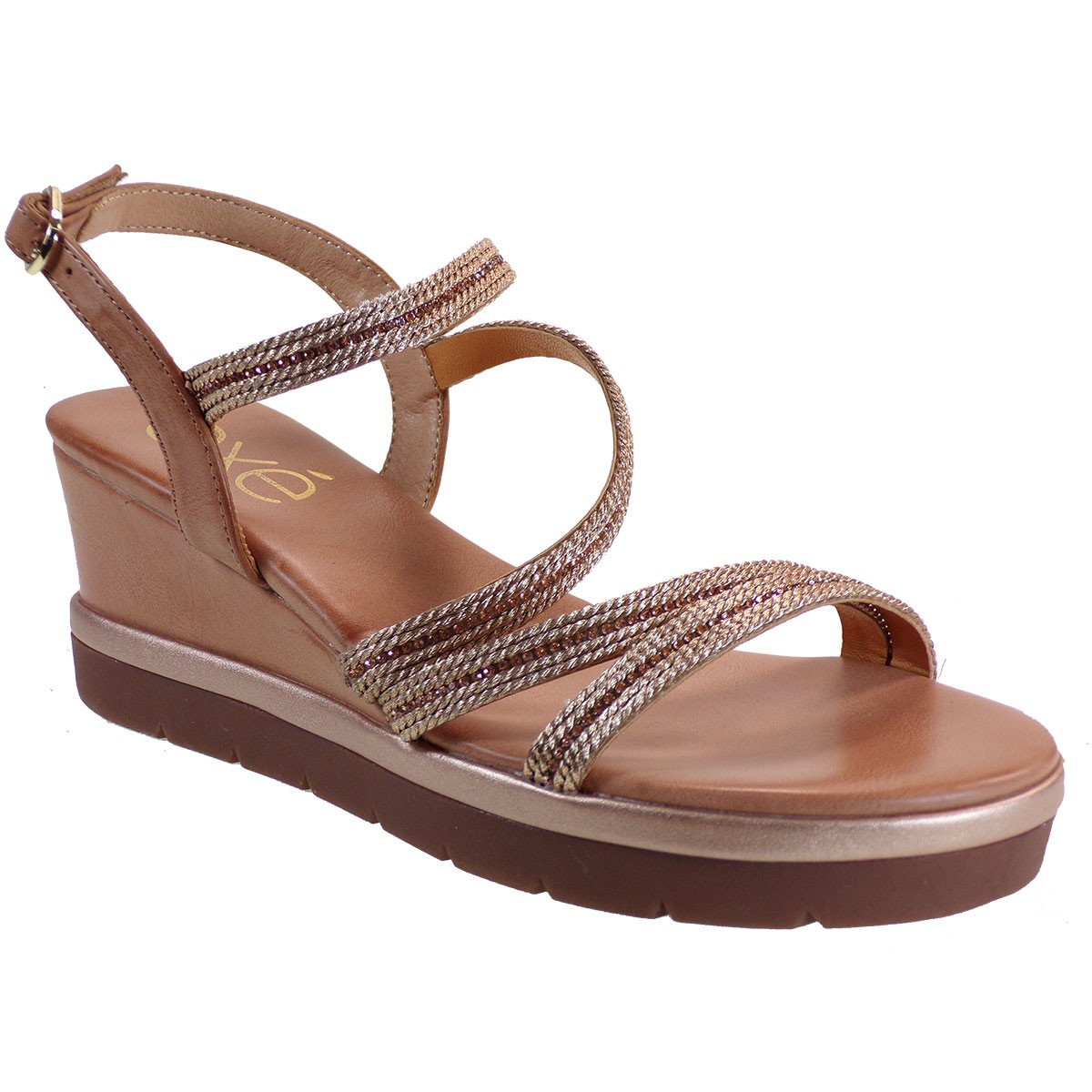EXE Shoes Γυναικεία Πέδιλα Πλατφόρμες 902-IPANEMA-940 Ροζ Χρυσό Στας M47009043P50