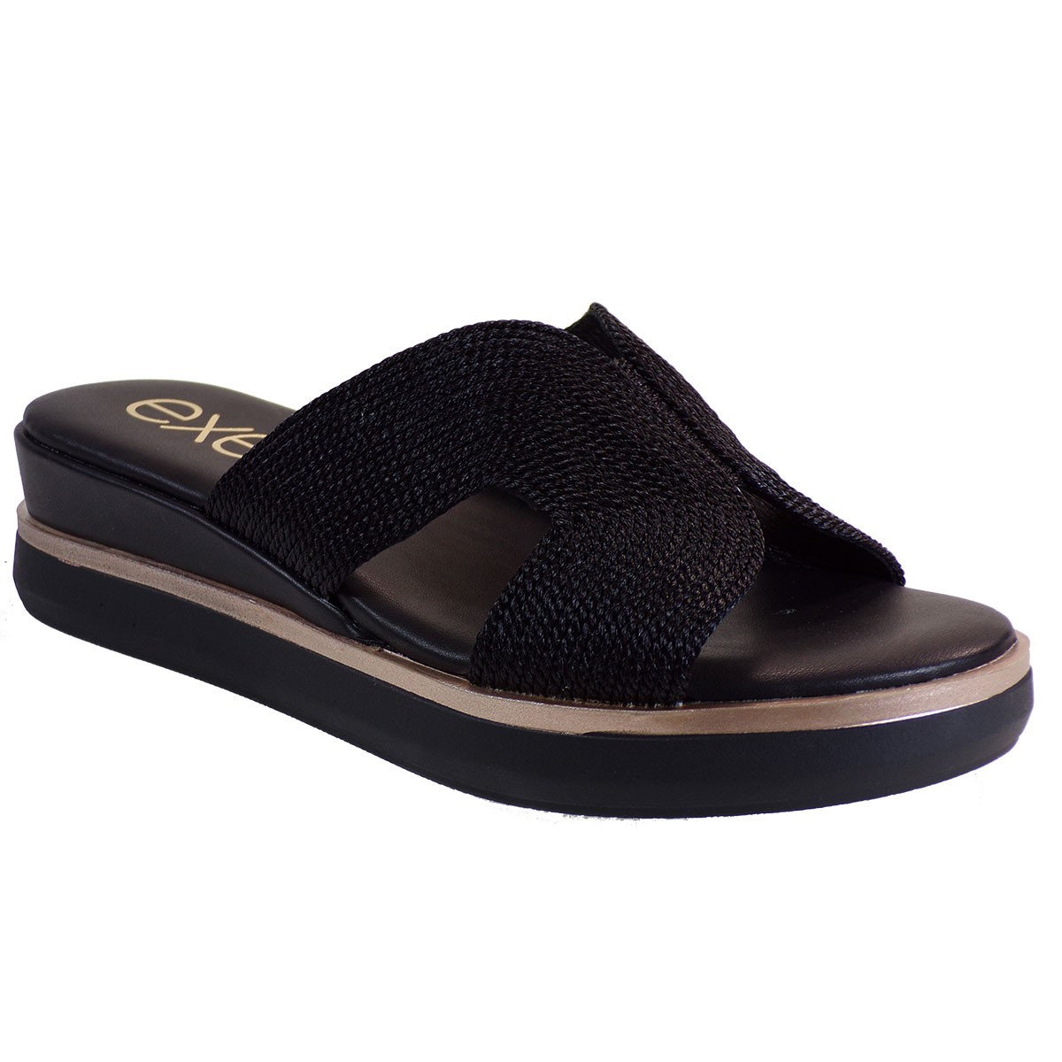 EXE Shoes Γυναικεία Παντόφλας Πλατφόρμες AMANTA -365 Μαύρο Μακραμε M47003652P11