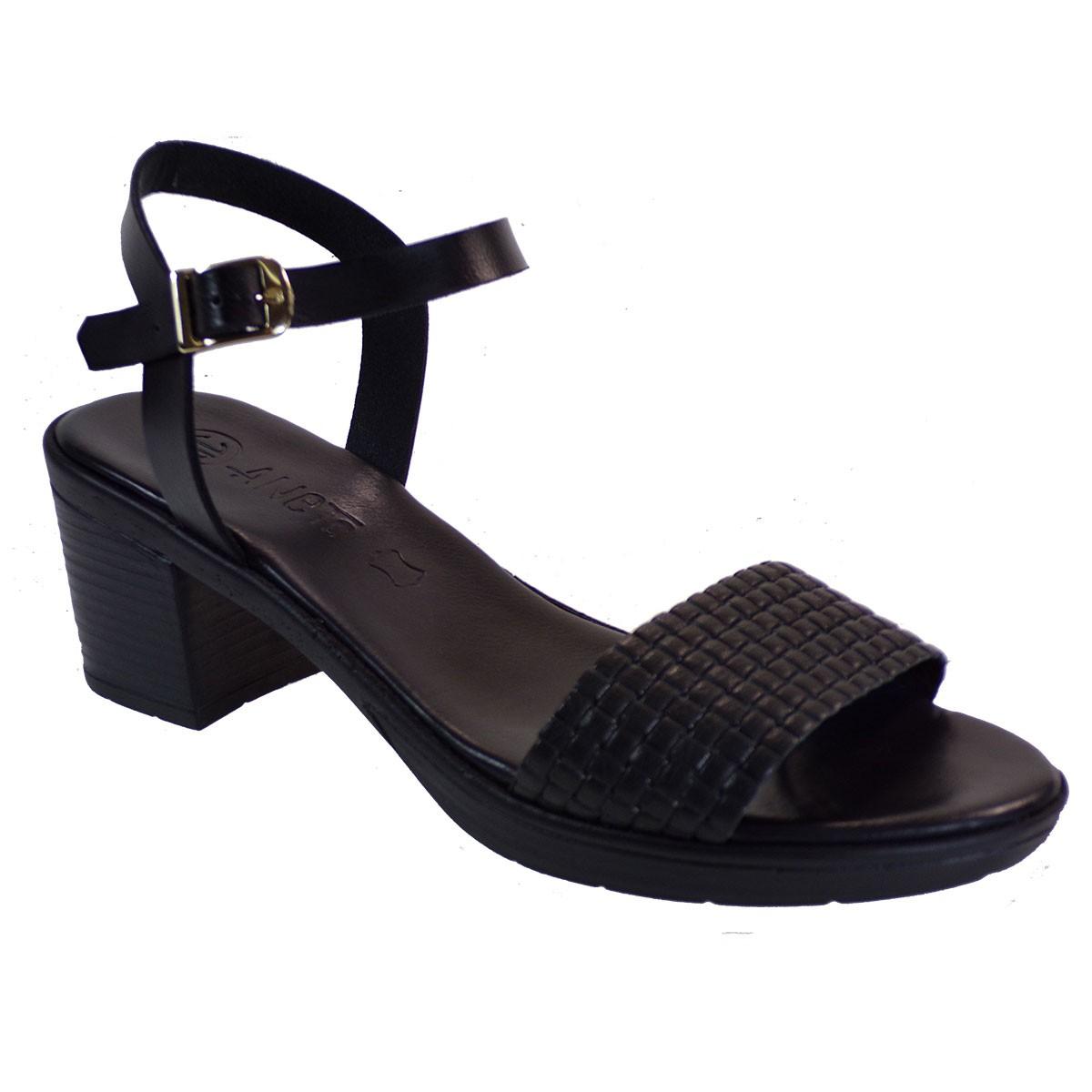 Katia Shoes Anneto Γυναικεία Πέδιλα 46-115 Μαύρο Δέρμα