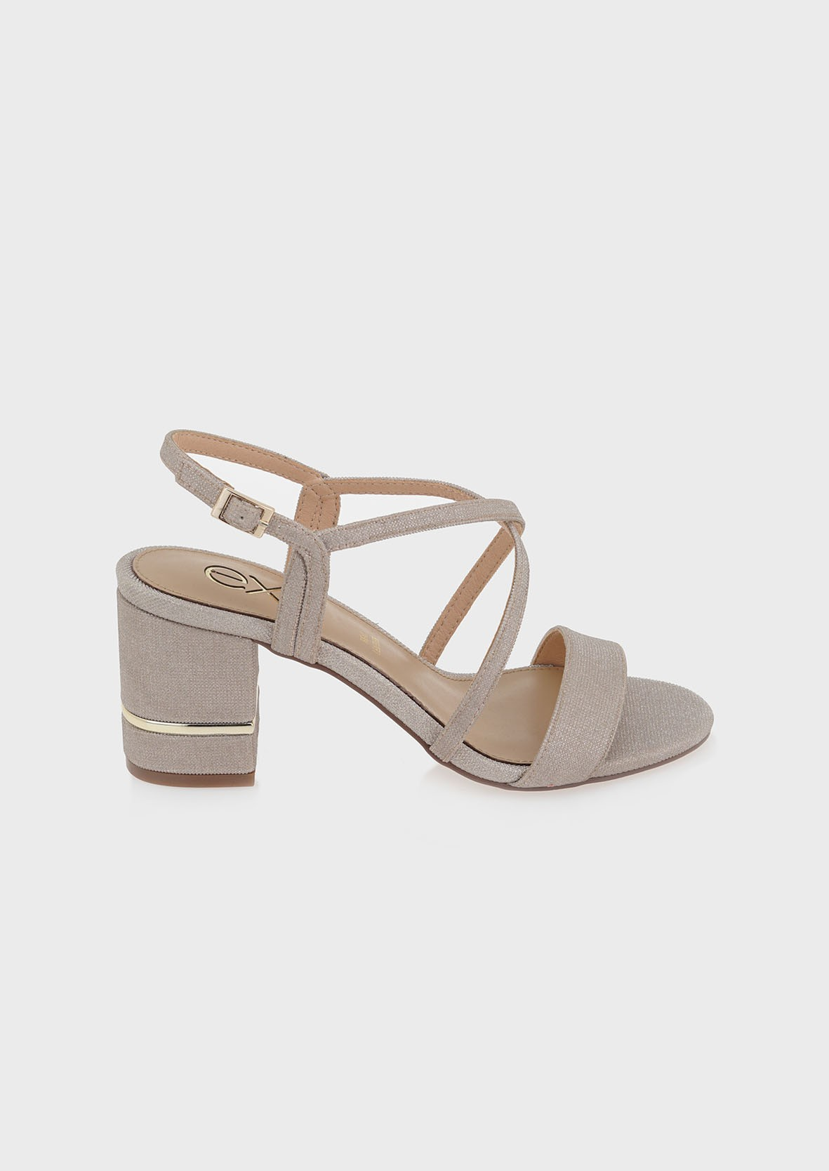 EXE Shoes Πέδιλα Γυναικεία 026-PENNY-266 Πλατίνα GLITTER M4700026479C
