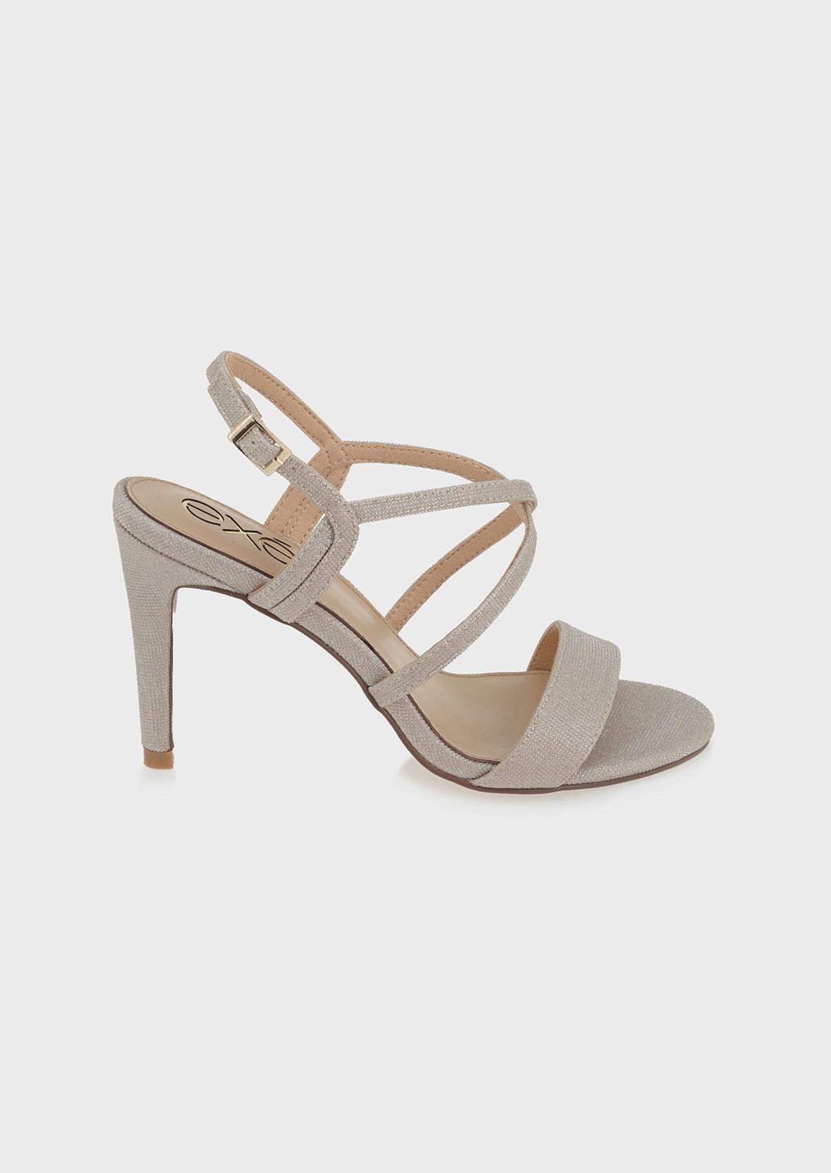 EXE Shoes Πέδιλα Γυναικεία 093-REBECA-393 Πλατίνα GLITTER M4700093579C