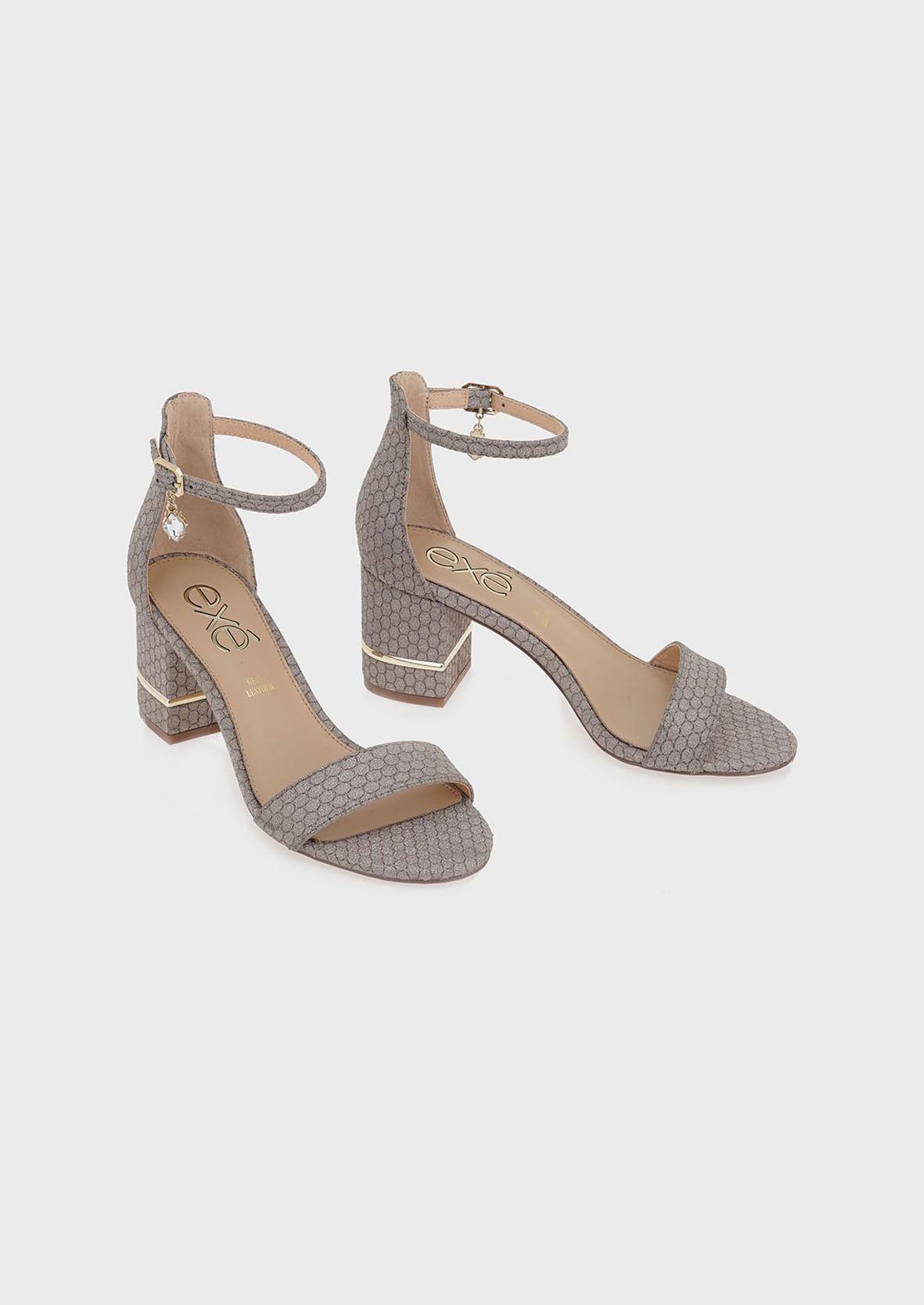 EXE Shoes Πέδιλα Γυναικεία PENNY-299 Ατσαλί Μπρονζέ Glitter M4700299403P