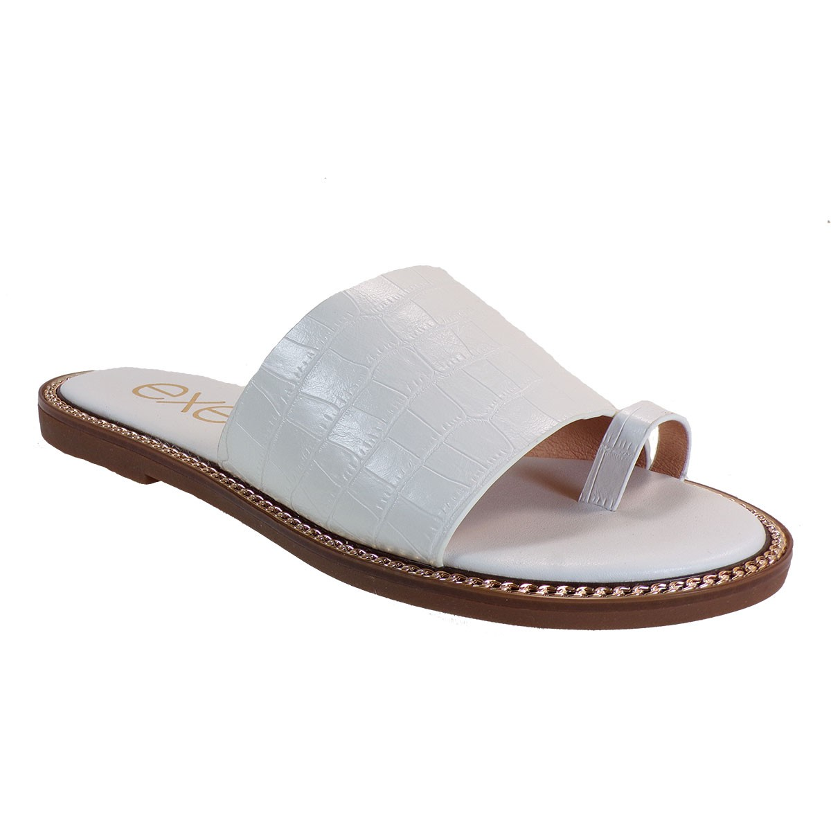EXE Shoes Γυναικεία Παντόφλας ALEXIA-140 Λεύκο Κροκό M4700140125P