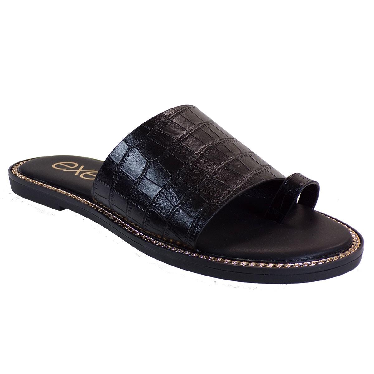 EXE Shoes Γυναικεία Παντόφλας ALEXIA-140 Μαύρο Κροκό M47001401024