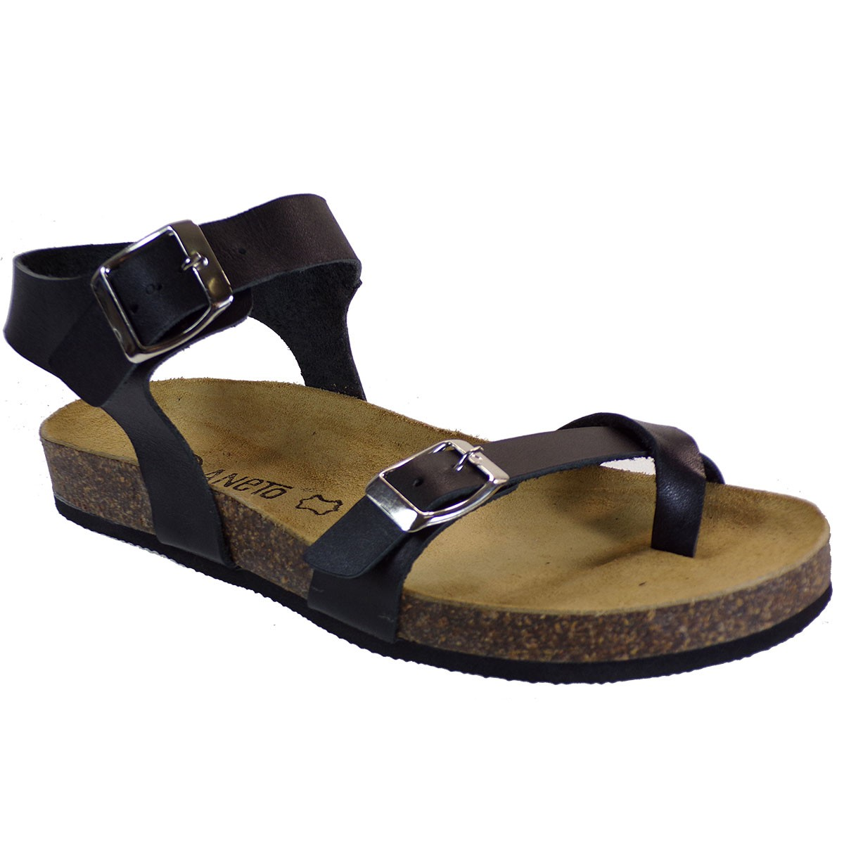 Katia Shoes Anneto Γυναικεία Πέδιλα Κ65-185 Μαύρο Δέρμα