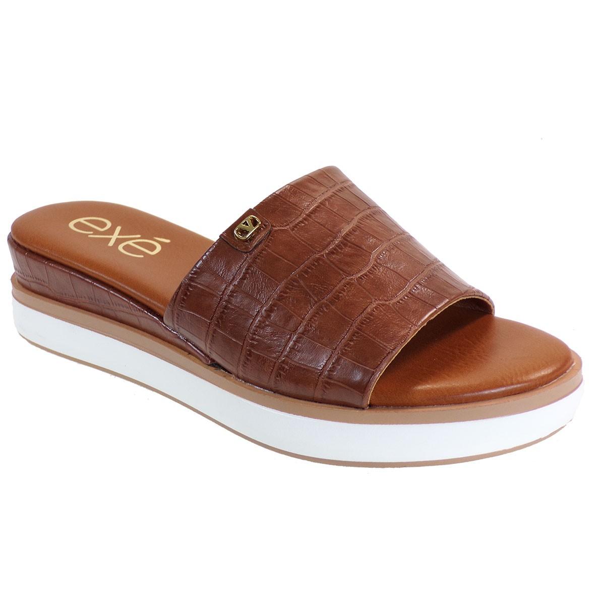 EXE Shoes Γυναικεία Παντόφλας Πλατφόρμες AMANDA-380 Ταμπά Κροκό M47003802G55
