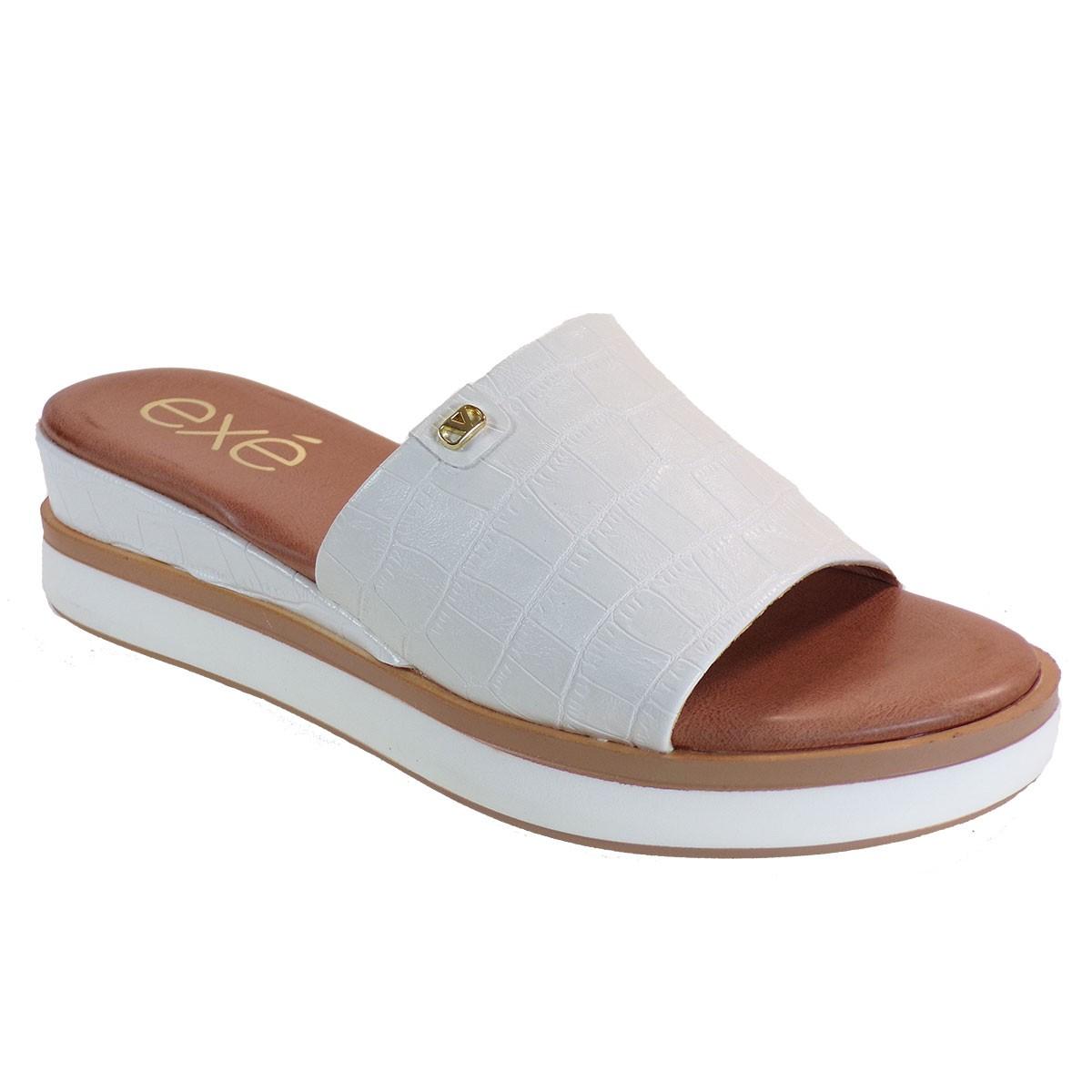 EXE Shoes Γυναικεία Παντόφλας Πλατφόρμες AMANDA-380 Λευκό Κροκό M47003802208