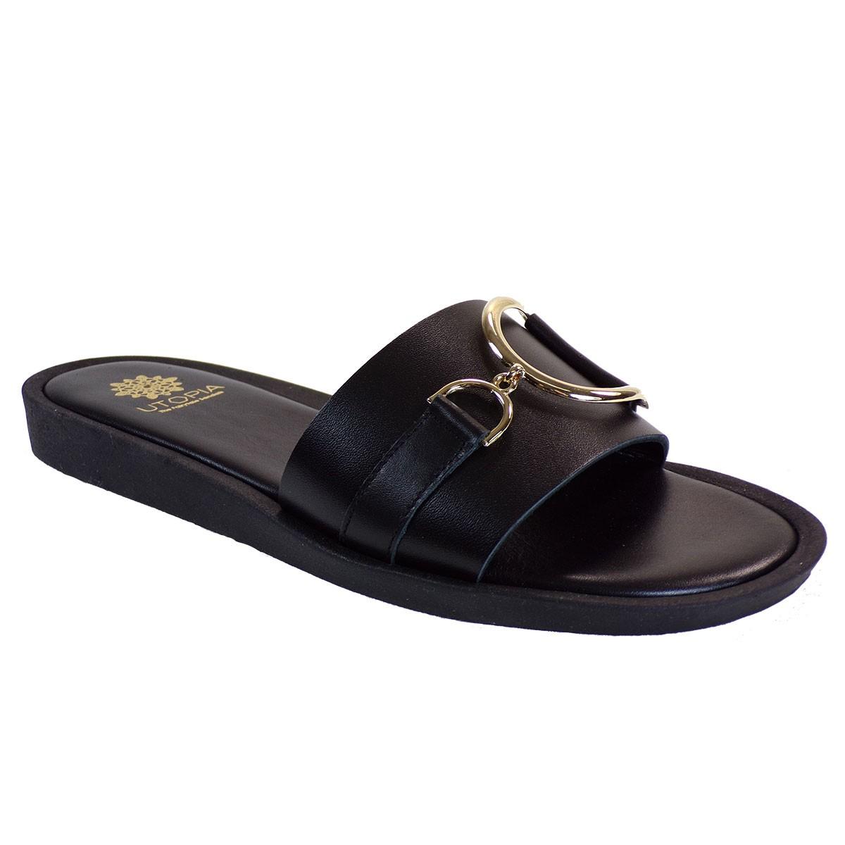 UTOPIA Γυναικεία Παπούτσια Παντόφλες U3-001 Μαύρο Δέρμα