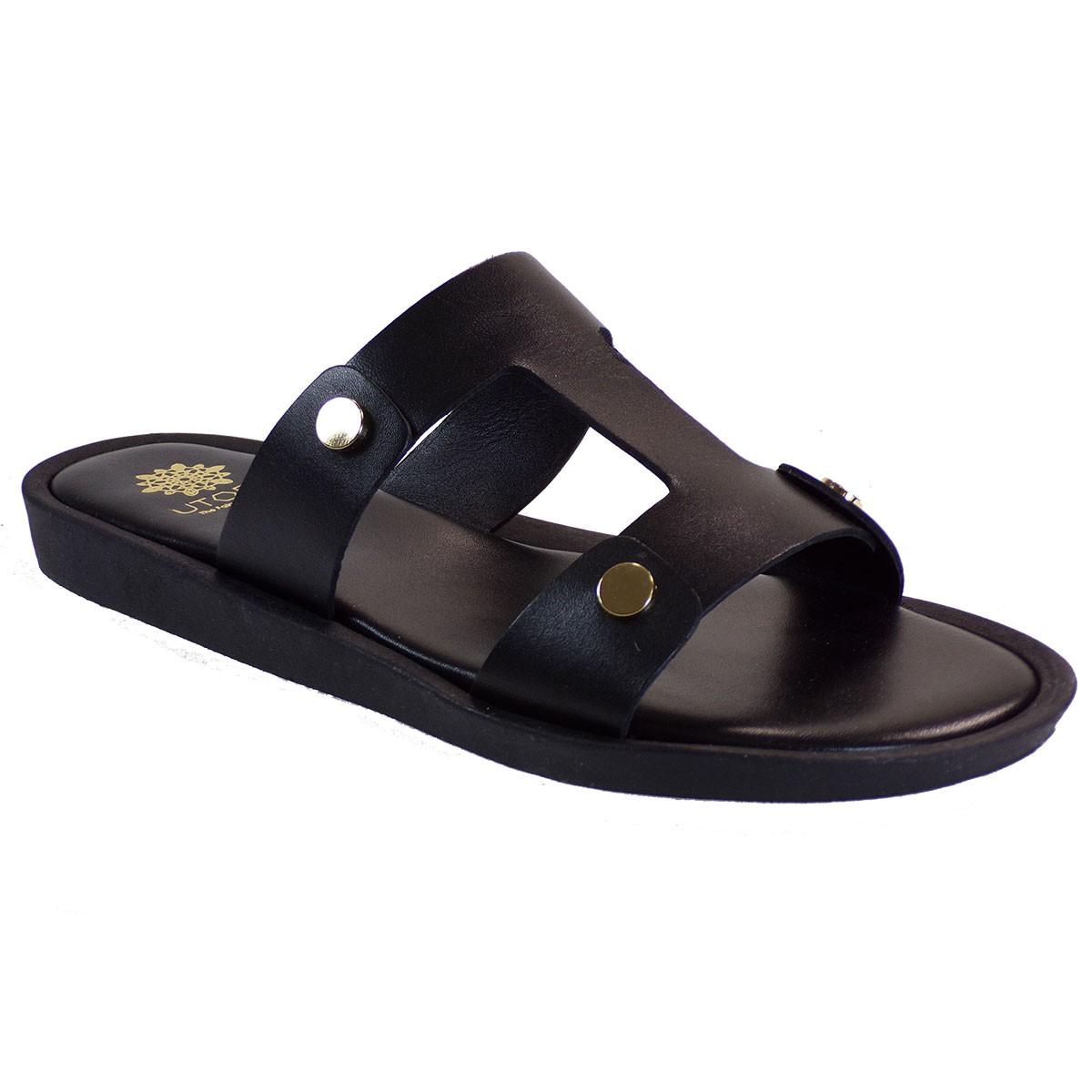 UTOPIA Γυναικεία Παπούτσια Παντόφλες U3-006 Μαύρο Δέρμα