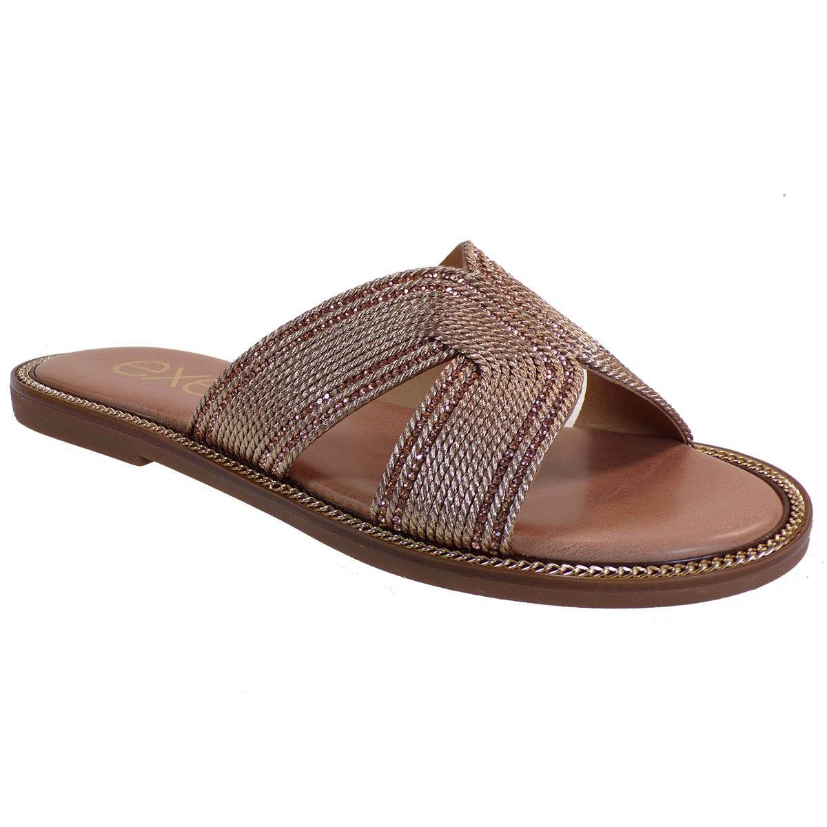 EXE Shoes Γυναικείες Παντόφλες ARIANA-158 Ροζ Χρυσό Στρας M47001581P50