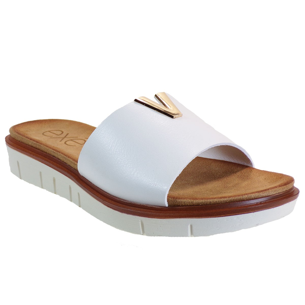 EXE Shoes Γυναικεία Παντόφλας 364-BZD86936 Λευκό M489Q364265105