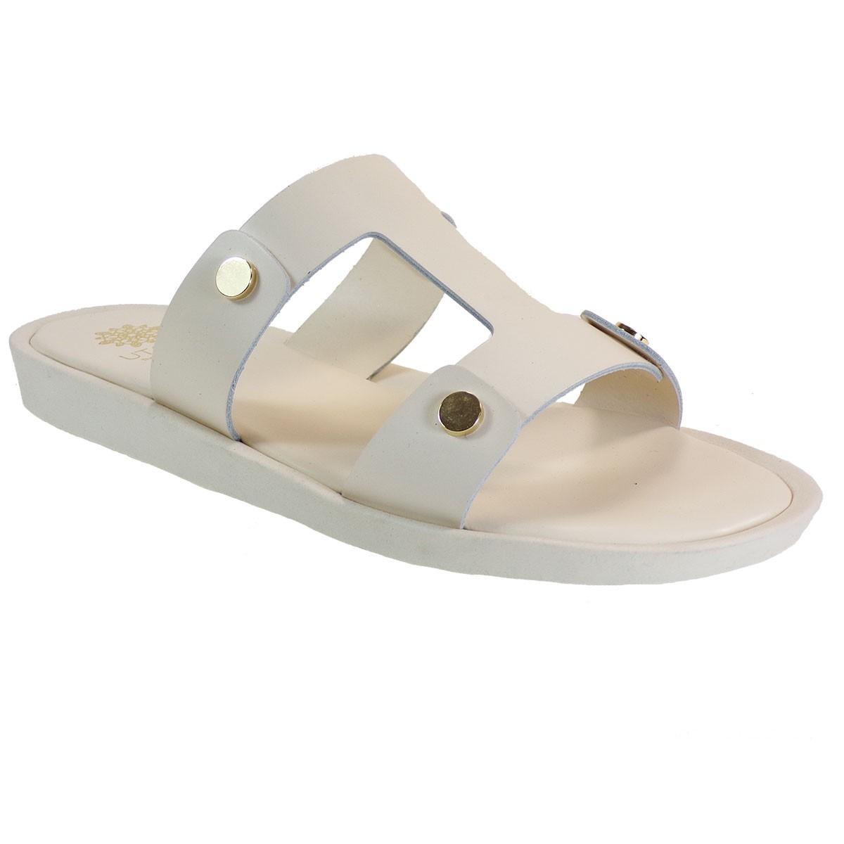 UTOPIA Γυναικεία Παπούτσια Παντόφλες U3-006 Λευκό Δέρμα