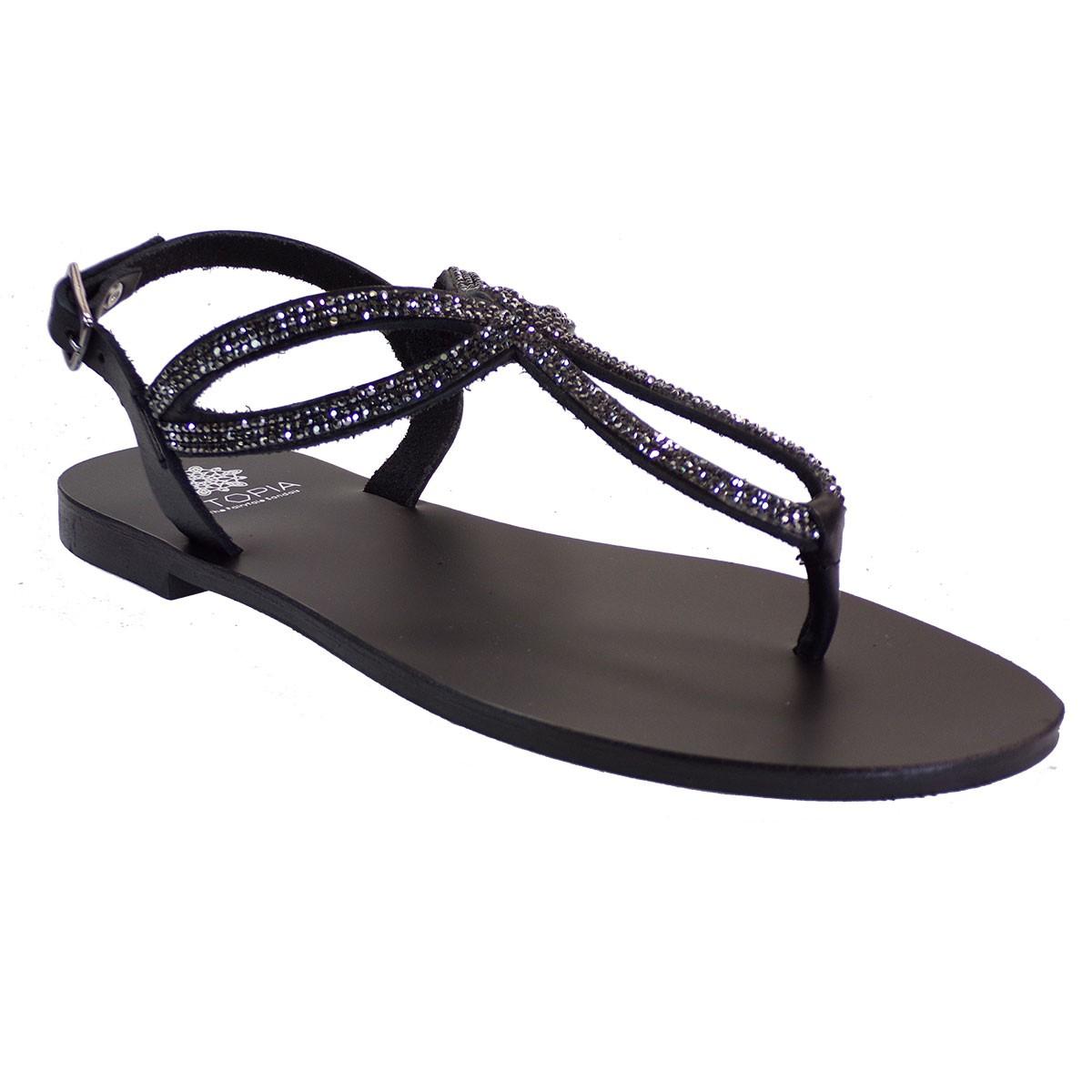 UTOPIA Γυναικεία Παπούτσια Πέδιλα U1-004 Μαύρο Δέρμα