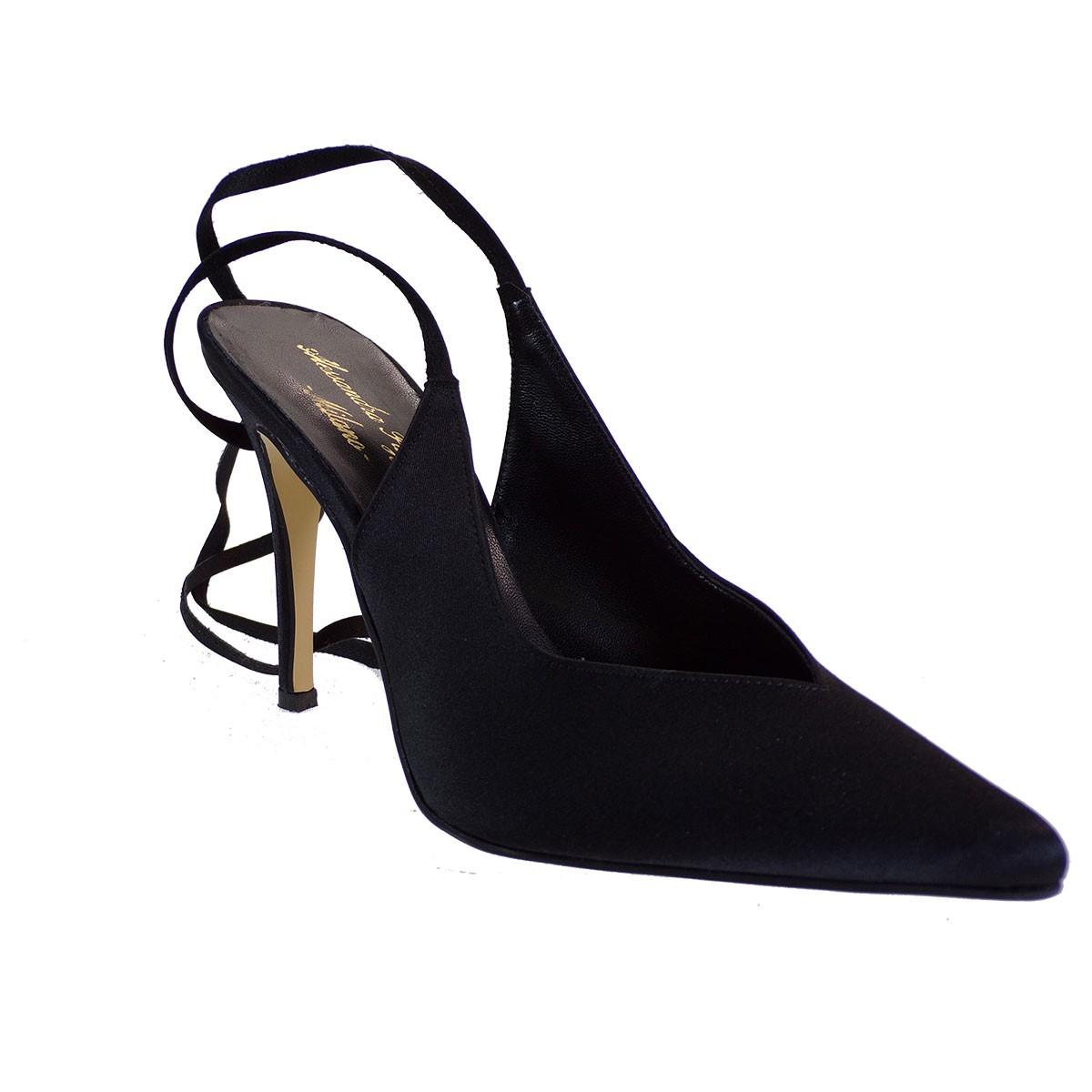 Alessandra Paggioti Γυναικεία Παπούτσια Γόβες 89685 Μαύρο Σατέν