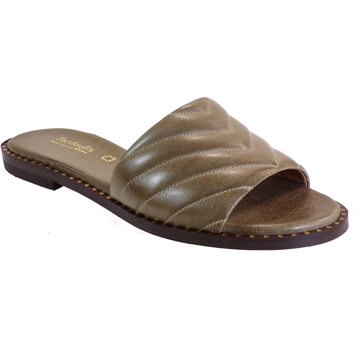 Fardoulis shoes Γυναικείες Παντόφλες 115-74 Λαδί Δέρμα