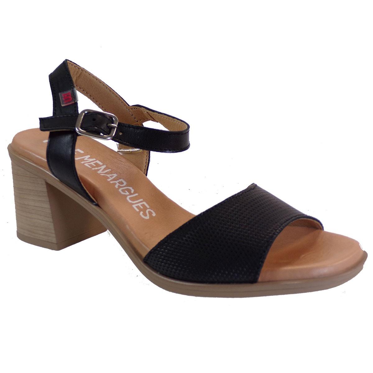 PEPE MENARGUES SHOES Γυναικεία Παπούτσια Πέδιλα 10425 Μαύρο Δέρμα
