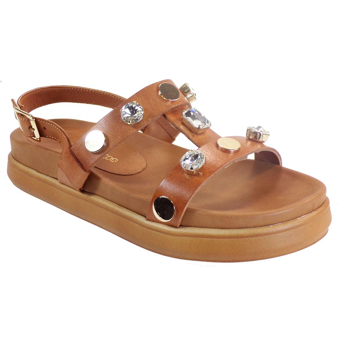 Xaris Kazakos Γυναικεία Παπούτσια Πέδιλα 3512 Ταμπά Δέρμα
