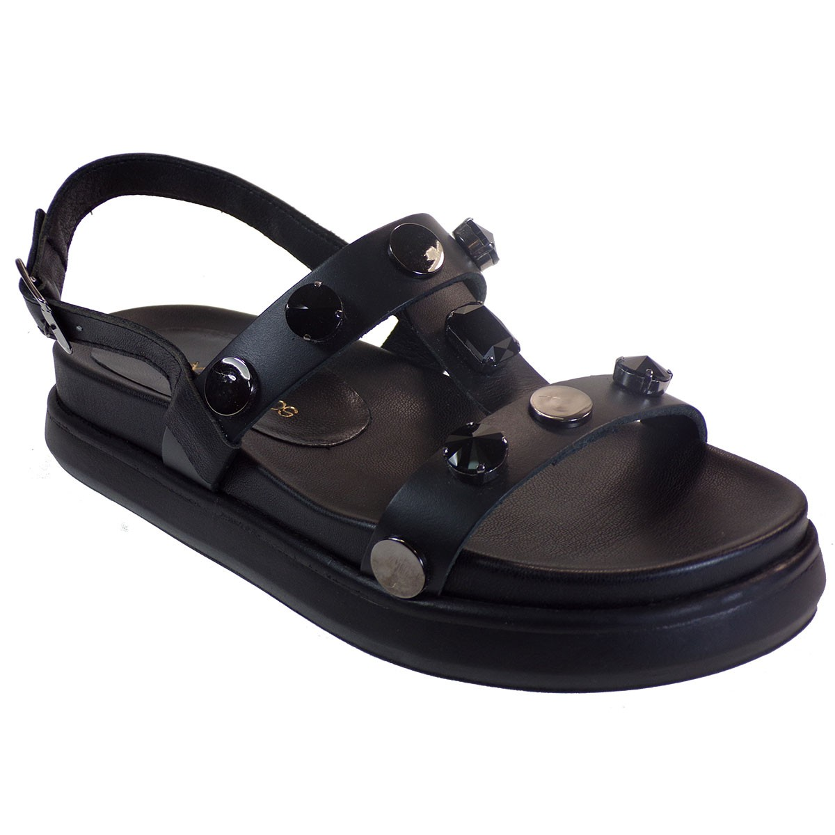 Xaris Kazakos Γυναικεία Παπούτσια Πέδιλα 3512 Μαύρο Δέρμα