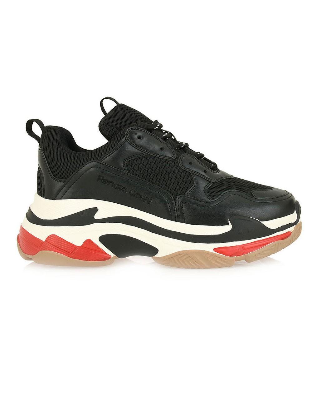 Renato Garini Γυναικεία Παπούτσια Sneakers 703-19R Μαύρο Πολύχρωμο Μπέζ N116W7033P78