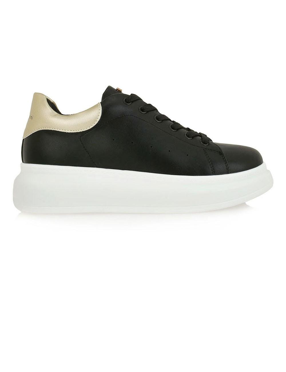Renato Garini Γυναικεία Παπούτσια Sneakers 101-19R Μαύρο Πλατίνα ΜΑΤ N119R1012T12