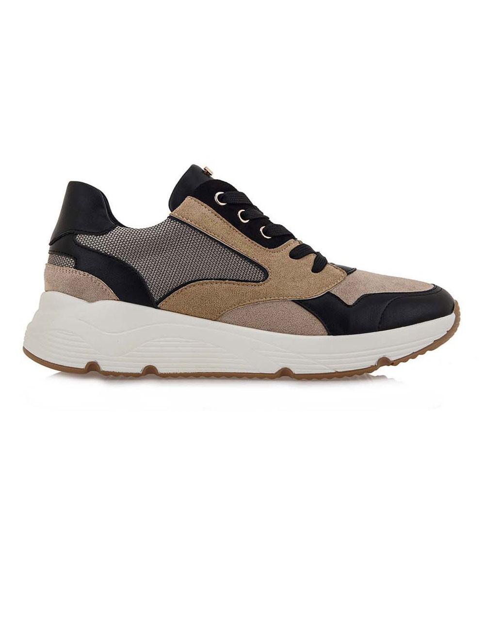 Renato Garini Γυναικεία Παπούτσια Sneakers 117-19R Μπέζ Καστόρι Μαύρο N119R117219M