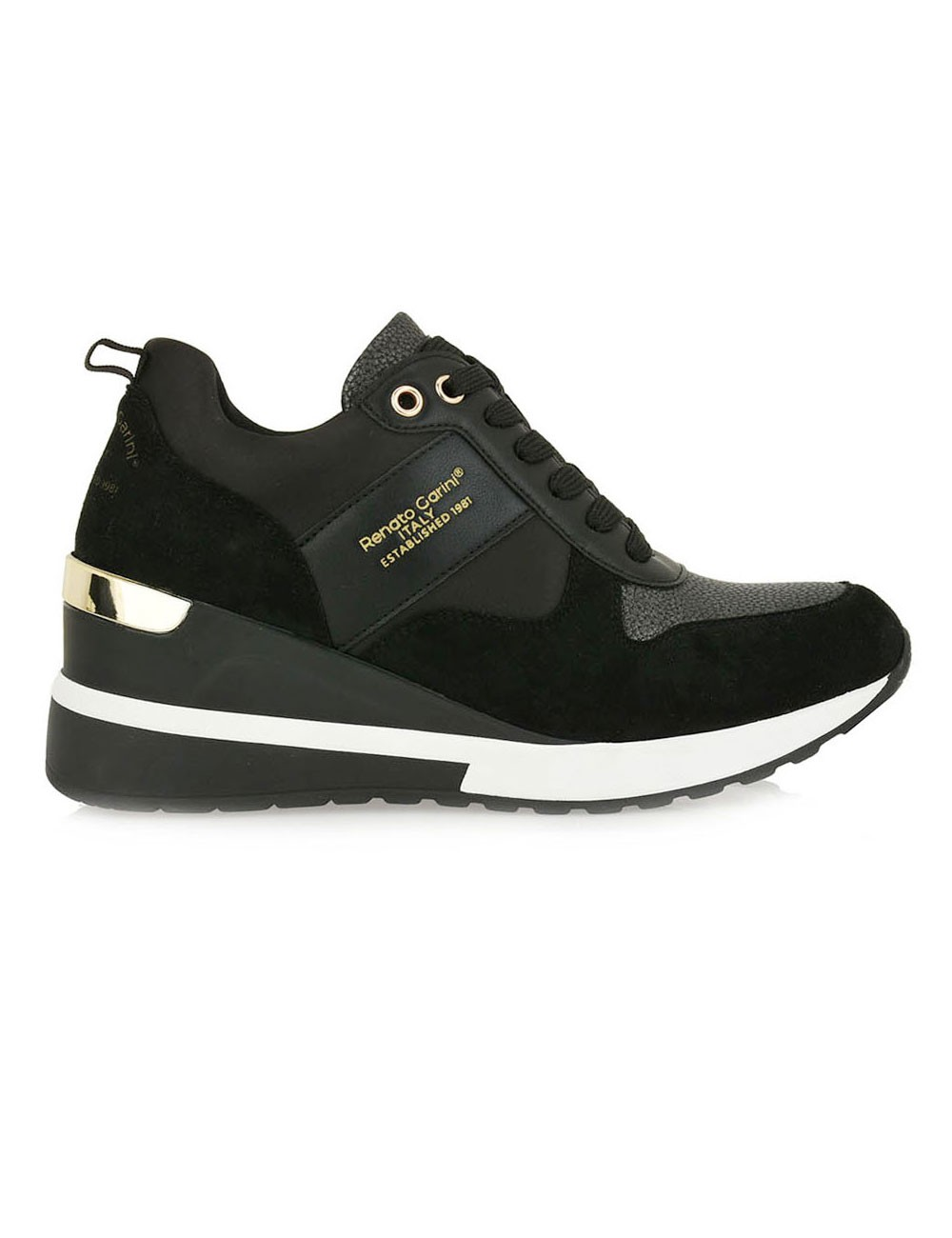Renato Garini Γυναικεία Παπούτσια Sneakers 342-19R Μαύρο Kαστόρι-Σατεν N119R3423P80
