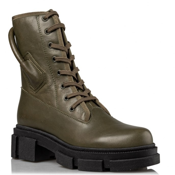 Envie Shoes Γυναικεία Μποτάκια Αρβυλάκια Ε02-14021-57 Χακί Δέρμα